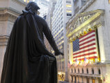 Bronze Statue of George Washington and the New York Stock Exchange Photographic Print by  xPacifica