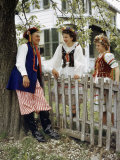 Polish American Folk Dancers in Authentic Costumes Chat by a Fence Photographic Print by Volkmar K. Wentzel