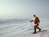 Skier Dressed as Santa Claus Stands at the True North Pole Photographic Print by Gordon Wiltsie