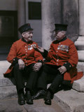 Two Pensioners of the Royal Hospital Chelsea Sit on a Stoop Photographic Print by Clifton R. Adams