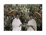 Two Amharic Women Pose Holding Umbrellas to Shade Themselves Photographic Print by W. Robert Moore