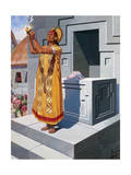 High Priest of the Sun Holds Aloft a Golden Bowl Giclee Print by H.M. Herget