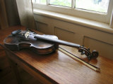 Antique Fiddle and Bow on Wooden Bench in Warm Sunlight from a Window Photographic Print by  White & Petteway
