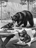 Black Bear Mother and Her Cubs Raid a Picnic, People Hide Behind Car Photographic Print by Walter Weber