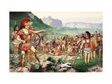 Leonidas Bids Farewell to Allies before the Battle at Thermopylae Giclee Print by H.M. Herget