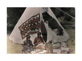 Two American Indians Mend Clothing Outside their Tipi Photographic Print by Edwin L. Wisherd