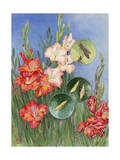 Painting of Gladiolus Thrips and Damaged and Undamaged Flowers Photographic Print by Hashime Murayama