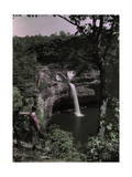 Woman Gazes at Waterfalls from a Location on the Top of a Cliff Photographic Print by Edwin L. Wisherd