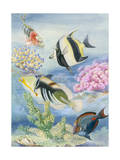 Fishes Swarm in a Coral Reef Lagoon Giclee Print by Else Bostelmann
