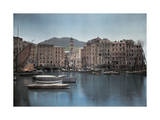 View of Ships at Port in a Small Italian Town Photographic Print by Hans Hildenbrand
