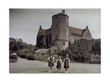 Three Swedish Girls Stand in the Gardens of Torup Castle Photographic Print by Gustav Heurlin