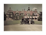 Woman Gets Out of Her Car in Front of a Swedish Castle Photographic Print by Gustav Heurlin