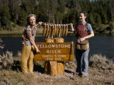 Women Hold their Limit of Fish Caught in the Yellowstone River Photographic Print by Edwin L. Wisherd