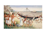 Egyptian Delegation Arrives on Shores of Punt on Somali Coast Giclee Print by H.M. Herget
