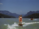 Two Women Water Ski on Lake Lure, Another Speedboat Follows Photographic Print by Joseph Baylor Roberts