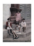 Four Children Sit on a Building's Steps, Posing for the Camera Photographic Print by Wilhelm Tobien