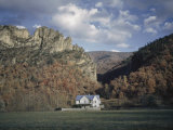 Seneca Rock's Quartzite Formations are the Backdrop for a Farmhouse Photographic Print by Volkmar K. Wentzel