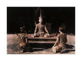 Three Children Perform a Dramatic Dance Number for Cambodia's King Lámina fotográfica por Courtellemont, Gervais