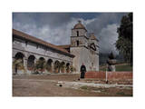 Franciscan Friar Stands in Front of the Mission at Santa Barbara Photographic Print by Franklin Price Knott
