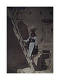 Water Carrier Stands on Ladder in Acoma Pueblo Balancing Jug on Head Photographic Print by Franklin Price Knott