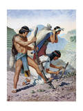 Native Peruvians Gather Potatoes from their Terraced Farms Giclee Print by H.M. Herget