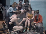 Group of Miami University Biology Students Study the Biscayne Bay Photographic Print by Clifton R. Adams