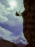 Sherpa Climber Learns to Rappel on a Crag in the Khumbu Region Photographic Print by Gordon Wiltsie