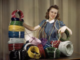 Woman Showcases New Wrapping Wires and Cables Photographic Print by Willard Culver