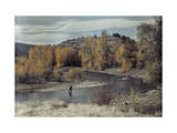 Man Fishes for Trout in the Naches River on Autumn Day Photographic Print by Clifton R. Adams