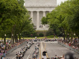 Marine Soldier Salutes the Rolling Thunder Parade on Memorial Day Photographic Print by Greg Dale