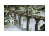 Roman Army Crosses Spain's Alcantara Bridge over Tagus River Giclee Print by H.M. Herget