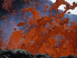 Fiery Lava Splashes Down Mount Etna Photographic Print by Peter Carsten