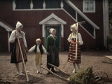 Three Women and a Boy Do Yard Work Outside of their Swedish Farm Photographic Print by Wilhelm Tobien