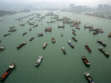Ships Sit in the Port of Hong Kong Waiting Loading and Unloading Cargo Photographic Print by  xPacifica