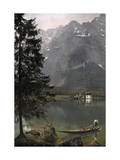 View of St. Bartholoma, a Lodge and Chapel, on the Konigssee Lake Photographic Print by Hans Hildenbrand