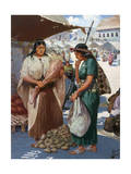 Two Incas Barter in the Market Place Giclee Print by H.M. Herget