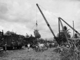Cranes Load Large Bundles of Sugar Cane for Transportation to Markets Photographic Print by Jacob Gayer