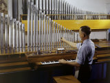 Organ Maker Adjusts Each Pipe Until the Tone Is Right Photographic Print by Willard Culver