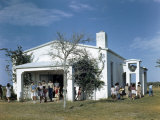 Children of Ranch Hands Leave One-Room School That Doubles as Church Photographic Print by Howell Walker