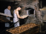 Men Load Trays of Pretzels into a Bakery's Old-Fashioned Oven Photographic Print by Howell Walker