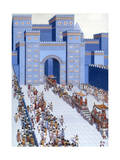 Men Parade Statues of Gods into Babylon Through Ishtar Gate Giclee Print by H.M. Herget