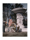 Marine Blows His Horn Next to a Fountain Honoring Admiral Dupont Photographic Print by Edwin L. Wisherd