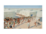 Egyptians Bring Food Offerings to a Tomb Giclee Print by H.M. Herget