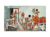 Woman Grinds Flour, and Men Use it to Make Beer in a Brewery Giclee Print by H.M. Herget