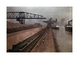 Ships Approach a Vast Dock to Unload Millions of Tons of Iron Ore Photographic Print by Jacob Gayer