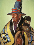 Head Chief of the Tlingit Holds Killer-Whale Staff of Office Photographic Print by W. Langdon Kihn