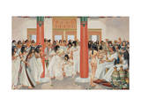 Chief Priest Gives a Formal Banquet in the Central Hall of His Home Giclee Print by H.M. Herget