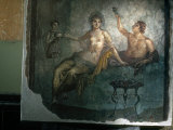Couple Enjoy the Good Life in an Ancient Roman Fresco Photographic Print by O. Louis Mazzatenta