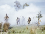 Photo of Soldiers with Gas Masks and Bayonets in Combat Training Fotografisk trykk av Joseph Baylor Roberts