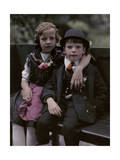 Austrian Children Pose in their Traditional Attire Photographic Print by Hans Hildenbrand